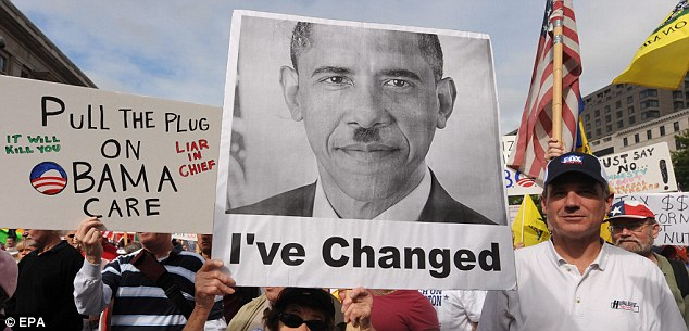 Hitler Mustache On Sign With Picture Of Obama At Tea Party Rally