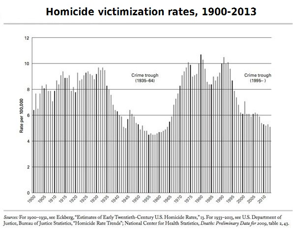 Homicide victimization rates, 1900-2013